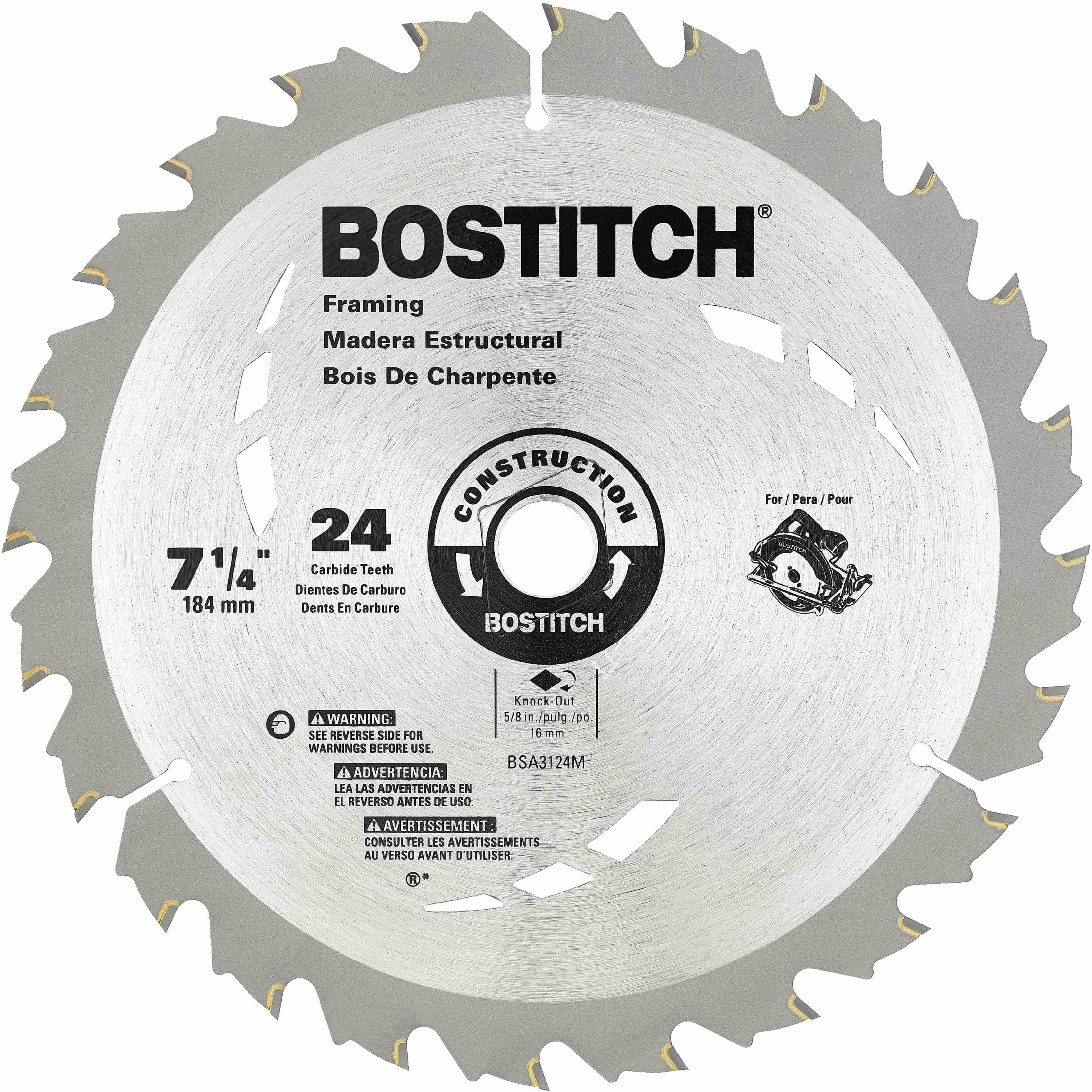 Bostitch - 7 14 24T Circular Saw Blade - BSA3124M